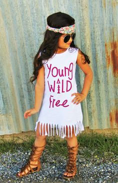 "White ""Young Wild Free"" Fringe Dress #boutique-outfits #dresses #new #newborn-clothing #newborn-sets #perfect-sets #spring-line"