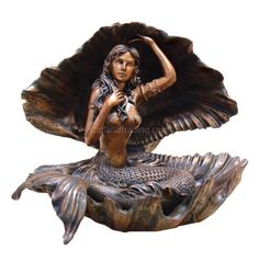 Mermaid In Shell Statue Sea Sculpture Beautiful Figurine HOME DECOR