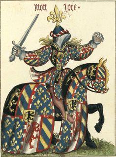 """Philippe III """"le Bon"""", duc de Bourgogne, fondateur de l'ordre de la Toison d'Or (Gaignières 1839) -- Aquarelle, Fonds Gaignières [BNF Réserve Pd-7-Fol.] -- «Monjoie [cri du duc]»"""