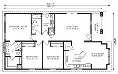 "The OXFORD •3 Bedrooms, 2 Baths •Square Feet: 1,461 •Dimensions: 49'-4"" x 28'-10"