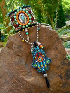 Fatima hand HAMSA NECKLACE gypsy protective jewelry by GPyoga, on Etsy