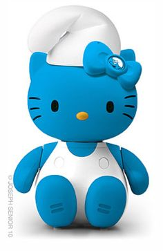 Isn't this funny?  It's Smurfette Hello Kitty.