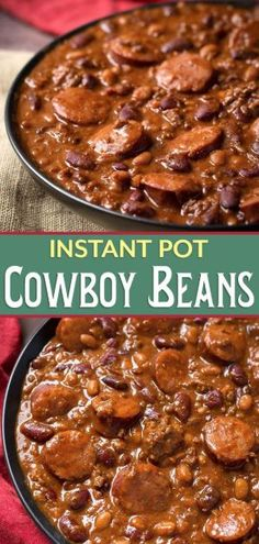 Instant Pot Cowboy Beans are super flavorful, rich and hearty with 3 kinds of meat! These pressure cooker Cowboy Beans can be a main dish or a side. Perfect for a pot luck or barbecue! Crock Pot Recipes, Bean Recipes, Chili Recipes, Cooking Recipes, Healthy Recipes, Cooking Tips, Cooking Pork, Cooking Games, Cooking Turkey
