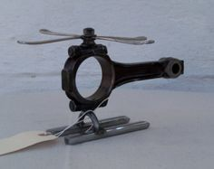Metal Sculpture Spark Plug Helicopter Re Purposed by EFaceDesigns