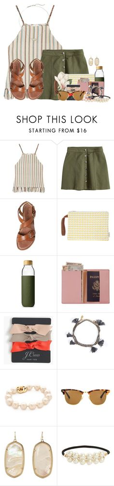 """I'm always the one that loves more"" by flroasburn ❤ liked on Polyvore featuring Miguelina, H&M, belle by Sigerson Morrison, Soma, Royce Leather, J.Crew, Shashi, Ray-Ban, Kendra Scott and Cara"