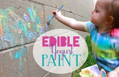 Edible Yogurt Paint Backyard easy activity for kids and toddlers {SohoSonnet.com}