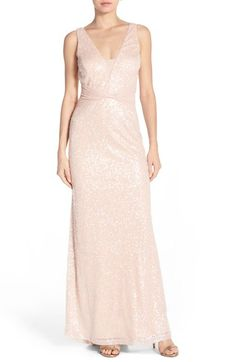 Vera Wang Sequin Mesh Gown available at #Nordstrom