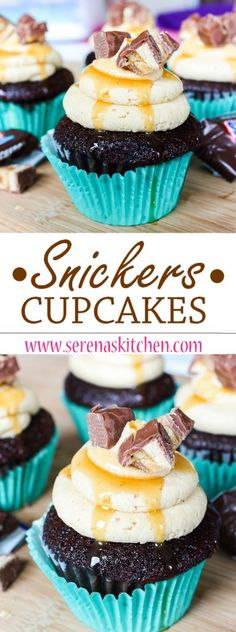 SNICKERS CUPCAKES - These showstopping cupcakes will be a hit at any celebration! My favourite chocolate cupcakes topped with a thick and fluffy peanut butter frosting, caramel drizzle, and chopped up Snickers Bars. If you love Snickers Bars you've gotta Baking Cupcakes, Yummy Cupcakes, Cupcake Cookies, Cupcake Recipes, Baking Recipes, Baking Ideas, Dessert Recipes, Snickers Cupcakes, Chocolate Cupcakes