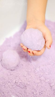 Lavender cloud dough is therapeutic and helps soothe, calm, and relax little ones. It is AMAZING the effect this cloud dough has on chilling out my kids and refocusing their energies in positive ways. {Great for time out, just before bed time, and anytime you need to calm kids down}