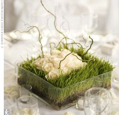 @katherine hartsell. Check this out...these centerpieces are made out of wheatgrass & curly willow branches.