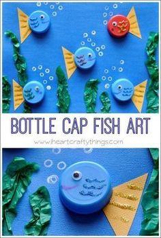 Bottle cap fish art sea creature crafts for kids preschool, preschool animal crafts, art Sea Animal Crafts, Animal Crafts For Kids, Toddler Crafts, Art For Kids, Fish Crafts Kids, Kids Fathers Day Crafts, Dinosaur Crafts, Children Crafts, Unicorn Crafts