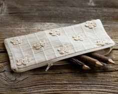 Natural White Crochet Flowers Pencil Case, Floral Cotton Pen Holder, Nature Inspired School Supplies