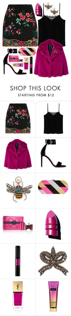 """The bee in her ears"" by pulseofthematter ❤ liked on Polyvore featuring Topshop, MANGO, Oscar Tiye, Gucci, Milly, Viktor & Rolf, Anastasia Beverly Hills, Yves Saint Laurent and Victoria's Secret"