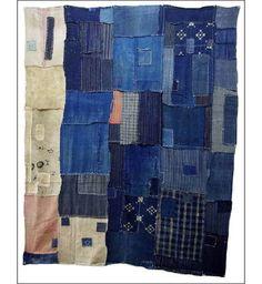 Beautiful indigo patchwork blanket