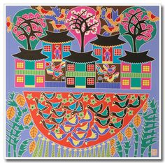 Chinese Folk Art, Jinshan Peasant Painting Pond In Front Of The House Chinese Painting, Chinese Art, Farmer Painting, Fence Art, Naive Art, Art Challenge, Pretty Art, Asian Art, Folk Art