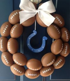 Indianapolis Colts Football Wreath by HartFilledDesigns on Etsy Football Crafts, Football Wreath, Football Tailgate, Football Themes, Football Season, Football Shirts, Football Decor, Football Birthday, Football Food