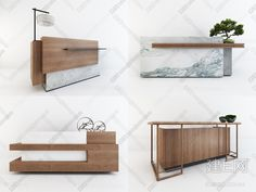 Bank of Montreal - marble effect porcelain reception desk - Kinorigo Reception Counter Design, Office Reception Design, Modern Reception Desk, Office Table Design, Modern Office Design, Office Furniture Design, Office Decor, Clinic Interior Design, Lobby Interior