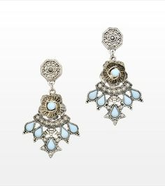 Give any look some standout appeal with these statement earrings! Tiffany Blue, Chandelier Earrings, Statement Earrings, Belly Button Rings, Triangle, Essentials, Feminine, Pendants, Urban