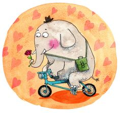 Elephant in love Art Print