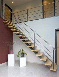 metalen trappen met houten treden - realisaties - Grillaert Open Trap, Staircase Design, Stair Design, Exterior Colors, Feng Shui, Sweet Home, Stairs, House, Staircases