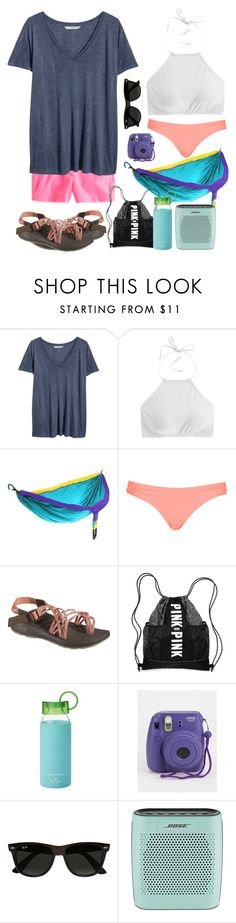 """""""Contest entry!"""" by sweettoothegj ❤ liked on Polyvore featuring J.Crew, H&M, ENO, Topshop, Chaco, Kate Spade, Ray-Ban, Bose, women's clothing and women"""