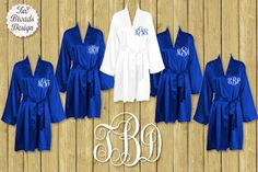 FREE ROBE Set of 7 or MORE Silk Satin Robes, Royal Blue Robe, Plus Size Available Personalized, Bridesmaid Gift Brides Monogrammed Robes by twobroadsdesign on Etsy https://www.etsy.com/listing/222425273/free-robe-set-of-7-or-more-silk-satin