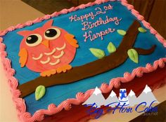 Owl sheet cake for girls kids birthday #bighorncakes #sheridanwy
