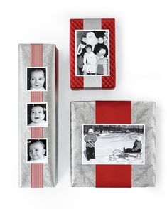 Want to add a personalized touch to your gift presentation? Print or copy a special photo onto heavyweight paper. Then wrap package with a wide band of ribbon. Using double-sided tape, secure photo to ribbon. You can use the photos to identify the giver or the receiver, or attach one favorite photo to all your presents. #giftpackaging
