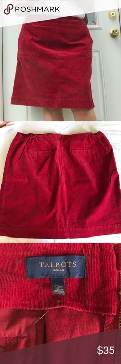 Like New, Size 22W Talbot's Skirt in Red Corduroy Like New, Size 22W Talbot's Skirt in Red Corduroy. Please don't be shy! Feel free to make a ridiculous offer! I won't be offended. I promise! I might counter, and I just might accept, depending on my ever changing mood! God Bless❣️ Happy Poshing❣️ Talbots Skirts