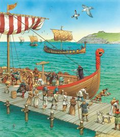 Viking raiders returning with slaves and booty.