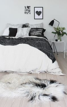 chambre Black & White #parquet contemporain