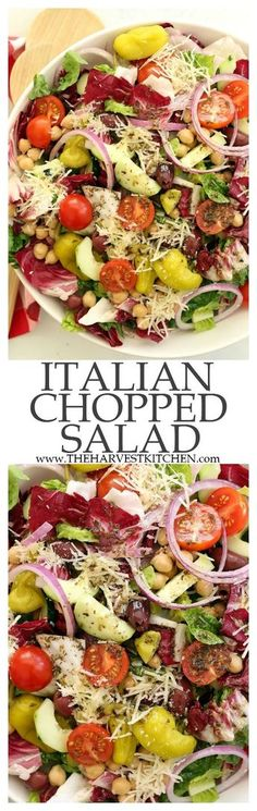 Italian Chopped Salad - a chopped salad that's loaded with flavor. It's great to serve with any Italian dish, grilled chicken or salmon, yet filling enough to be a meal on its own. Perfect for warm summer nights, backyard barbecues and potlucks. Italian Chopped Salad, Chopped Salad Recipes, Healthy Salad Recipes, Vegetarian Recipes, Cooking Recipes, Italian Salad Recipes, Kale Recipes, Cooking Games, Healthy Snacks