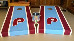 Phillies cornhole set with customizable bag holder  Any sports team can be made