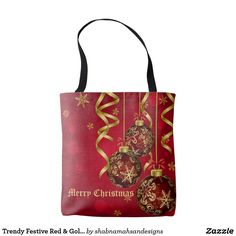 Trendy Festive Red & Golden Christmas Ornaments A pretty red and golden Christmas tote bag. Red and golden Christmas balls & golden snowflakes on festive red background give it a beautiful festive look. Perfect Christmas gift for your family and friends #red #golden #ChristmasOrnaments #snowflakes #festive #trendy #chic #stylish #pretty #beautiful