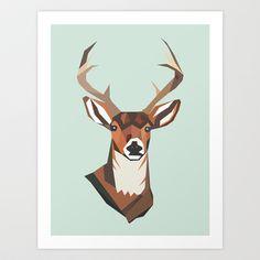 Deer- Blue Art Print by Brighid Ghysen - $20.00