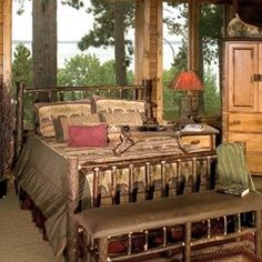 Loon Peak Made from kiln-dried Cleary selectively harvested from Tennessee forests. Log Cabin Furniture, Hickory Furniture, Rustic Furniture, Living Room Furniture, Tennessee, Black Forest Decor, French Country Bedrooms, Diy Décoration, Shabby Chic Homes