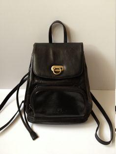 Vintage French 90's Black Leather Rucksack. Leather Backpack. Leather Rucksack. Vintage Black Rucksack. Black Shoulder Bag Black Leather Bag by Tukvintage on Etsy