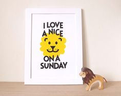 Animal puns are so fun. Zzz... Everyone loves a nice lion on a sunday! This bright screen print is guaranteed to raise a smile :o) Its perfect for any bedroom. This screenprint has been designed and handprinted by hello DODO in their home studio :o)  This design is hand printed with black and yellow water-based, toxic-free ink on 200gsm acid-free Fabriano Artist Paper. Signed and dated.  Size: A3 (29.7cm x 42cm). Please note, the frame is not included.  Colours may differ slightly from the…