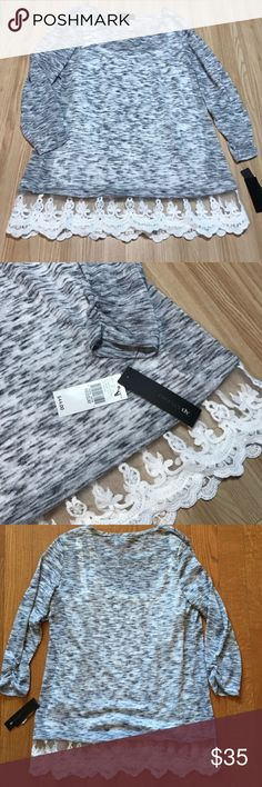 NWT Lace Hem Marled Top New with tags. Semi-sheer marled gray top with white lace bottom trim. Attached white cami. 3/4 length sleeves.  no trades | offer button only | no modeling | bundle discounts! Tops