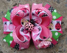 Lady bug hair bow Large hair bow Pink and Green Lady Bug Boutique Stacked Hair Bow Hair Clip Gracias Large Hair Bows, Ribbon Hair Bows, Diy Hair Bows, Bow Hair Clips, Homemade Hair Accessories, Navy Hair, Stacked Hair, Boutique Hair Bows, Mini Boutique