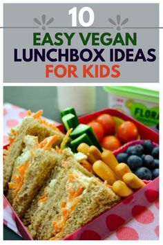 10 vegan lunchbox ideas for kids. If you are stuck for ideas for lunch for your vegan kids, or just want your kids to eat a more plant-based lunch or vegetarian lunch, check out one week lunch plan with tips. #veganlunch #kidslunchbox #vegankids #vegan #lunchbox #kidslunch #vegankids #veganchildren #lunchboxtips #lunchtips #vegetariankids #veggiekids #lunch #packedlunch #schoollunch #vegankidslunch