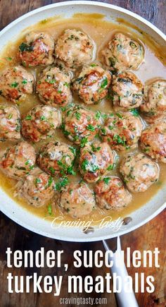 Tender and extra juicy, these pan-cooked turkey meatballs are always a hit. Serve with gravy and garlic mashed potatoes, or a salad or roasted vegetables for a light, healthy meal. Tender and extra juicy, these pan-cooked turkey meatballs are alw Meatball Recipes, Chicken Recipes, Healthy Turkey Recipes, Turkey Balls Recipe Healthy, Minced Turkey Recipes, Crockpot Ground Turkey Recipes, Healthy Cooking Recipes, Turkey Meatball Casserole Recipe, Lean Meat Recipes