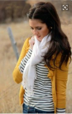 Love the mustard yellow cardigan with black and white stripe shirt.  White scarf.  Stitch fix inspiration fall and winter 2016.