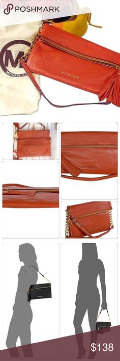 """Michael Michael Kors Weston Clutch Authentic Michael Kors  Small Weston  Color Burnt Orange  Carry as a clutch, Or shoulder bag  New with tags Includes dust bag   Never used  MSRP $218  One main zip pocket  Tassel on zipper Logo interior lining  1 internal zip pocket and 6 slip pockets  Chain & leather strap  9""""height 11"""" width 10"""" Drop MICHAEL Michael Kors Bags Clutches & Wristlets"""
