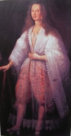 Venetian courtesan c. 1600, showing the wearing of drawers/breeches