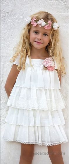 2020 Girl's Evening Dress White Short Layered Tulle Skirt With Flower Accessory - Evening Dresses Little Girl Fashion, Little Girl Dresses, Kids Fashion, Flower Girl Dresses, Girls Evening Dresses, Girls Dresses, Baby Dress, The Dress, Kids Frocks
