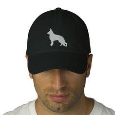 White German Shepherd Dog Silhouette Embroidered Baseball Cap