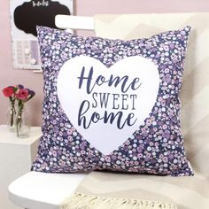 Home Sweet Home Cushion New Home Gifts, First Home, Gifts For Friends, Sweet Home, Floral Prints, Cushions, Throw Pillows, How To Make, Website