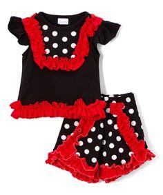Black Polka Dot Ruffle Tee & Shorts - Infant, Toddler & Girls by Lady's World #zulily #zulilyfinds