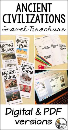 This history project is perfect… Ancient Civilization Project – Travel Brochures. This history project is perfect for your upper elementary and middle school students! Ancient World History, World History Lessons, Study History, History Projects, Women's History, History Facts, Social Studies Classroom, Teaching Social Studies, Egypt